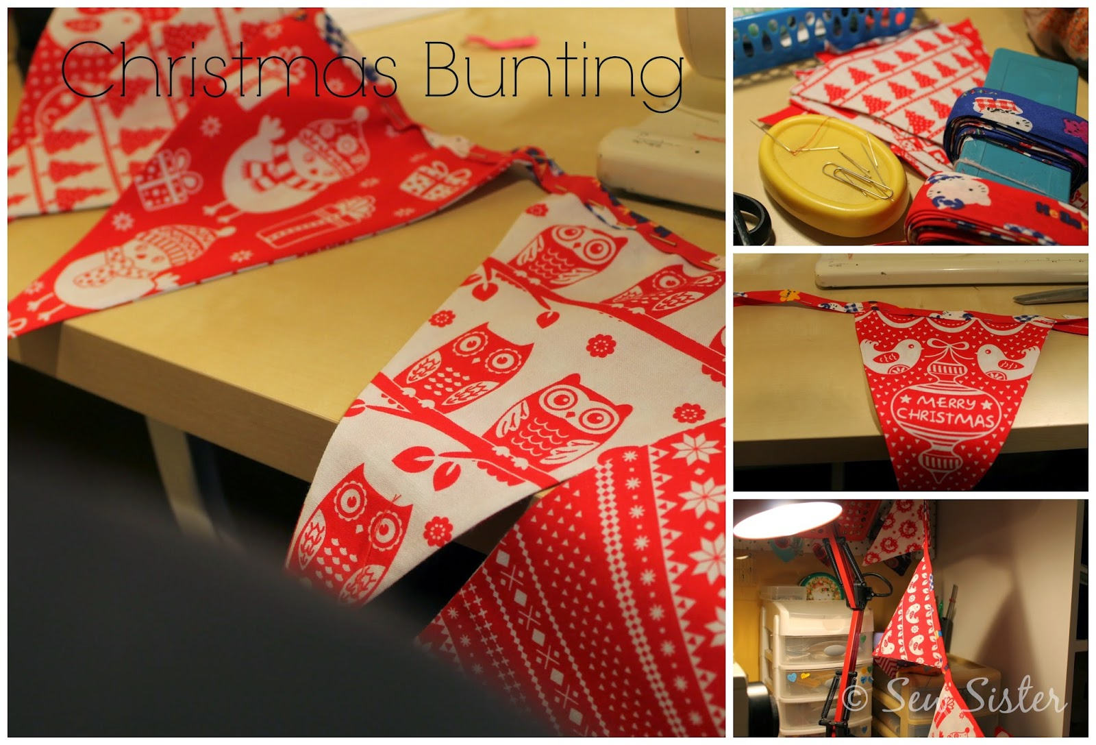 how to make bunting flags without bias binding