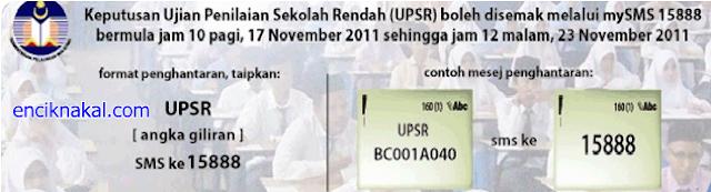 SEMAKAN KEPUTUSAN UPSR 2011 SECARA ONLINE DAN SMS