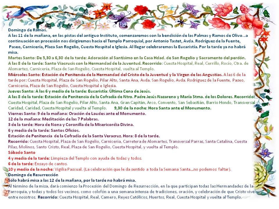 HORARIOS DE CELEBRACIONES EN LA SEMANA SANTA 2019