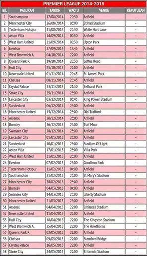 Jadual perlawanan Liperpool musim 2014/2015