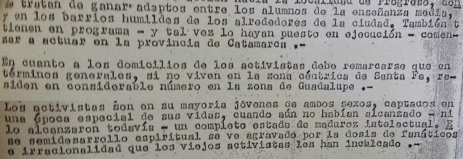 Parte del informe de Gendarmería, de 1970.