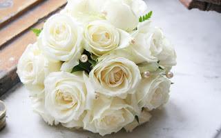 handbouquet pernikahan bunga mawar putih