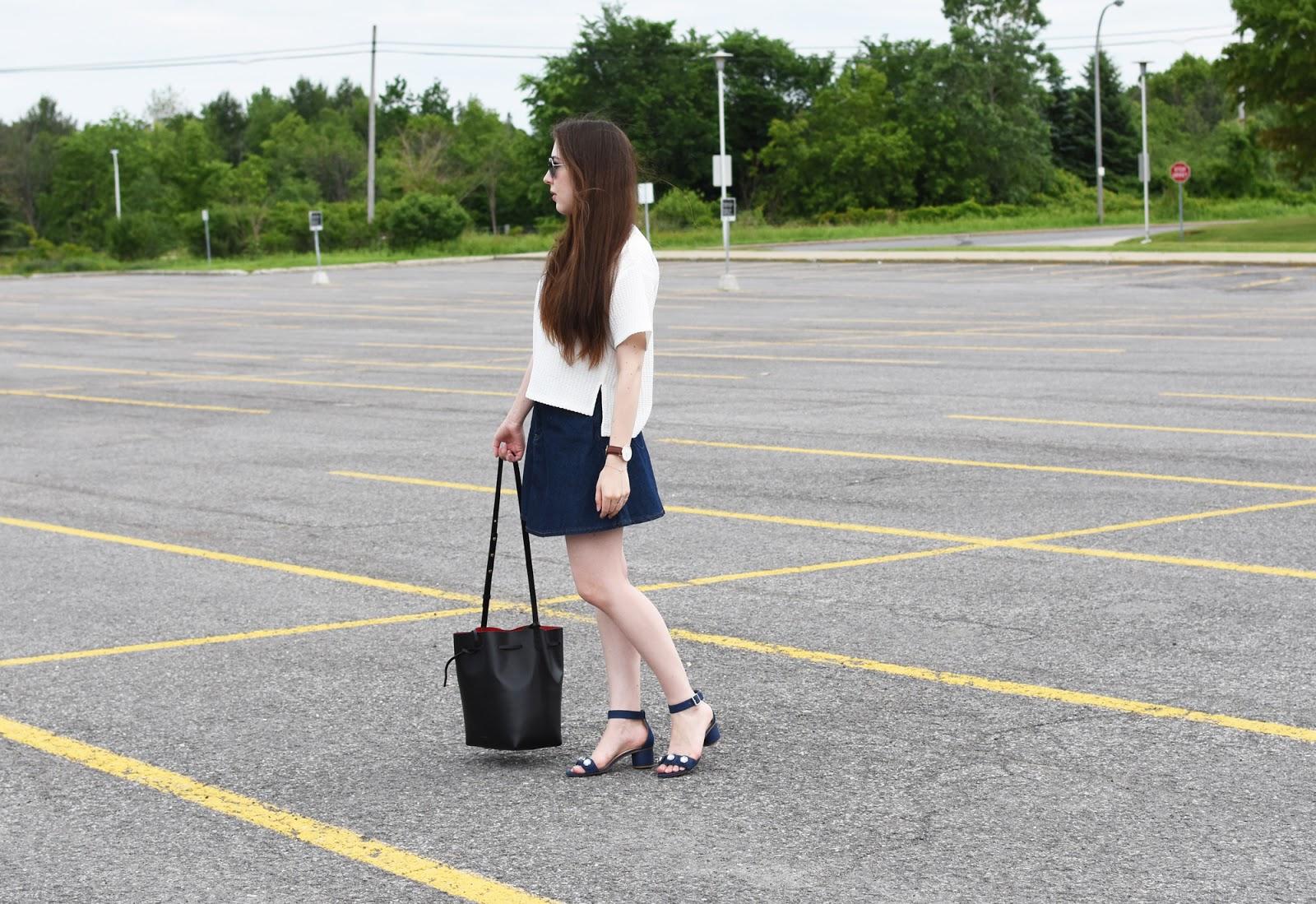 90s inspired OOTD ft. Forever 21 top and denim skirt, Zara block heel sandals, Mansur Gavriel bag, and Warby Parker sunglasses.