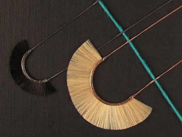 Horse hair/silver/rose gold necklaces by Bjorg