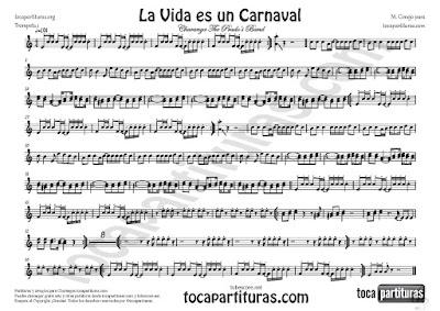 La Vida es un Carnaval Partitura de Trompeta en Si bemol (Fliscorno) de Celia Cruz Sheet Music for Trumpet (& Flugelhorn)