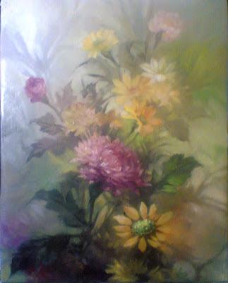 lukisan karya toto sukatma,Lukisan bunga Lyli,lukisan bunga ros,lukisan bunga bokor,lukisan bunga matahari.serumpun lukisan bunga