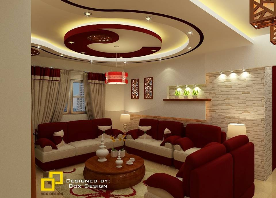 Modern living room with amazing brown sofa
