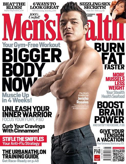 Jericho Rosales sexy and shirtless on the cover of Men's Health September 2012 issue