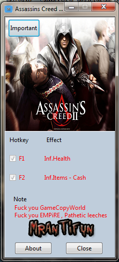 Assassins Creed 2 V1.0 Trainer +3 MrAntiFun