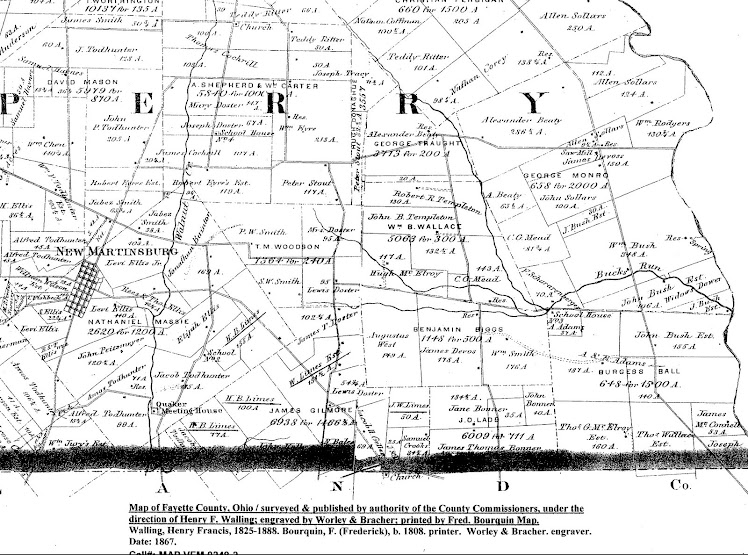 1867 Partial Lower Portion of Perry Township - Fayette County, Ohio Map