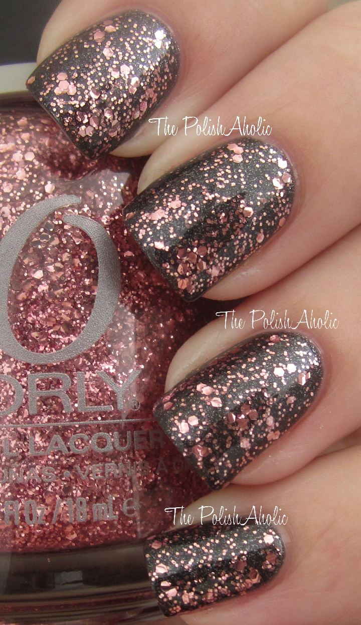 Pink Glitter on Black Nails | Artistic Nails! | Pinterest