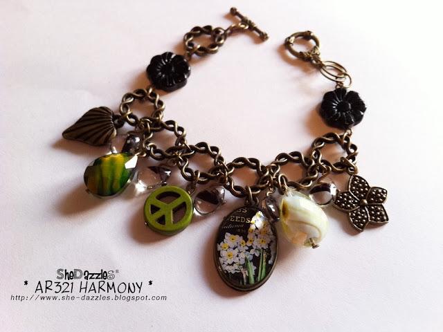 green-resin-pendant-charm-bracelet