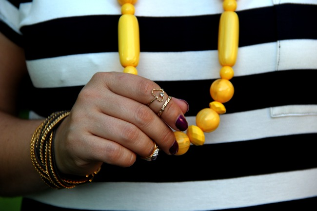 Stripped Maxi Dress form Gap, mid rings, yellow bubble necklace