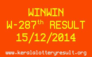 Winwin Lottery W-287 Result 15-12-2014
