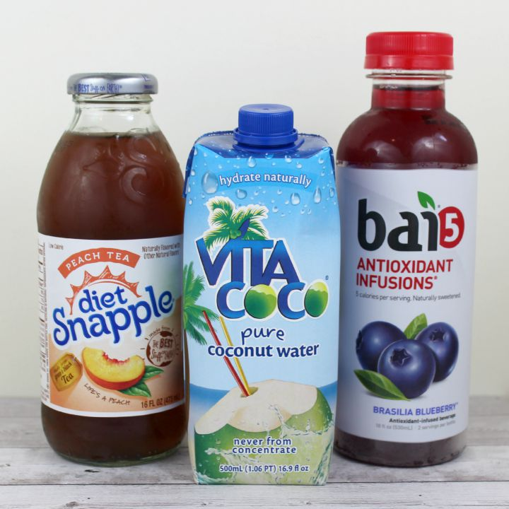 Diet Snapple Peach Tea Vita Coco Pure coconut water Bai5 Brasilia Blueberry