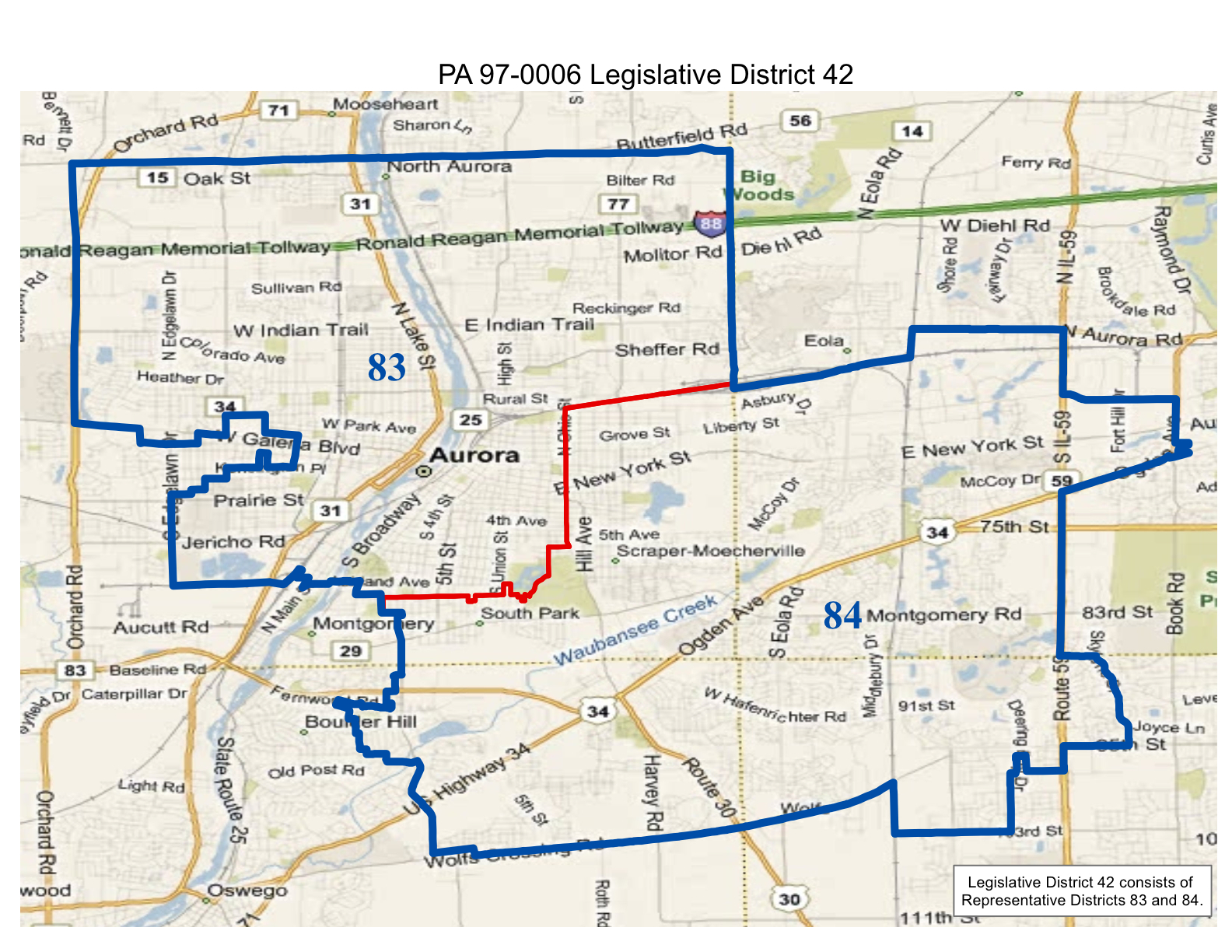 map of realigned illinois legislative district 42 and state representative districts 83 and 84