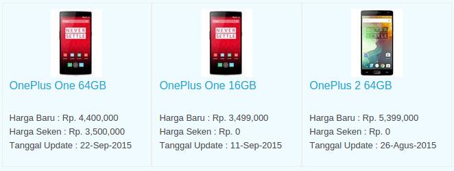 Daftar Terbaru Harga Hp OnePlus Oktober 2015
