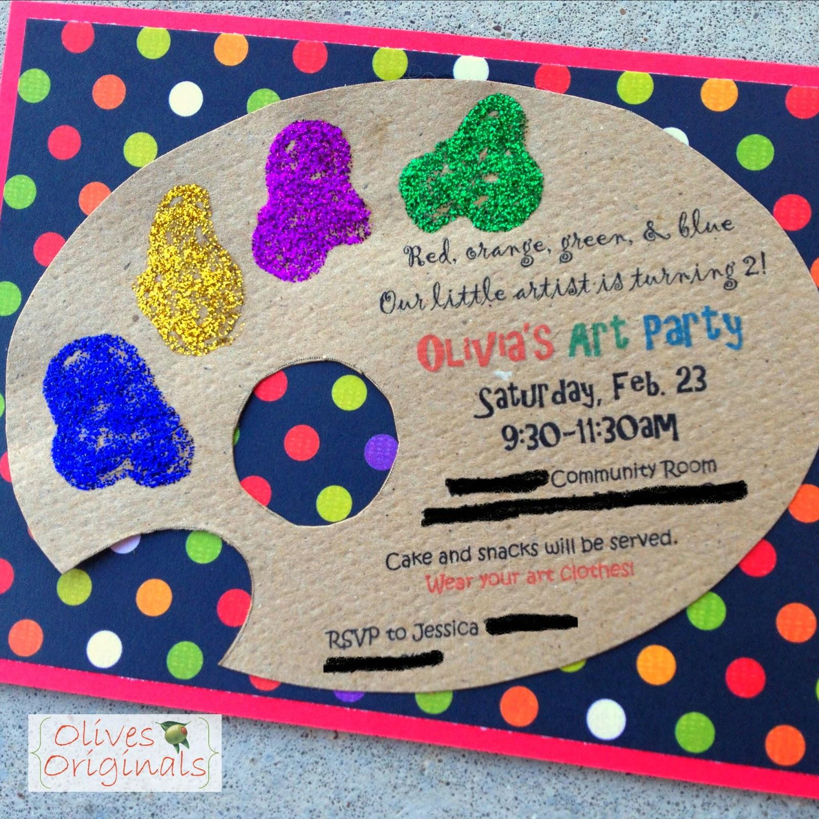 Olives Originals Art Party Invitations – Art Party Invites