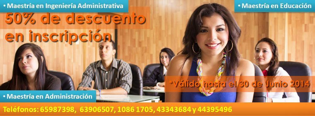 Maestrías en D.F. Maestría en Educación, Maestría en Ingeniería Administrativa, Maestría en Adminis