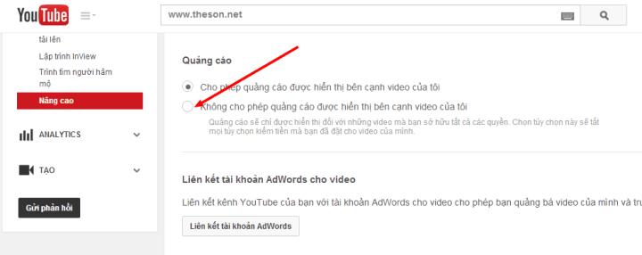 Tắt quảng cáo trên kênh Youtube