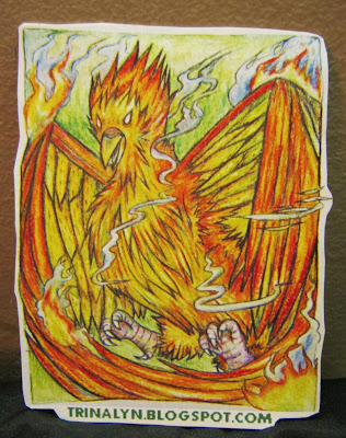 phoenix pheonix sticker red flames mystic art