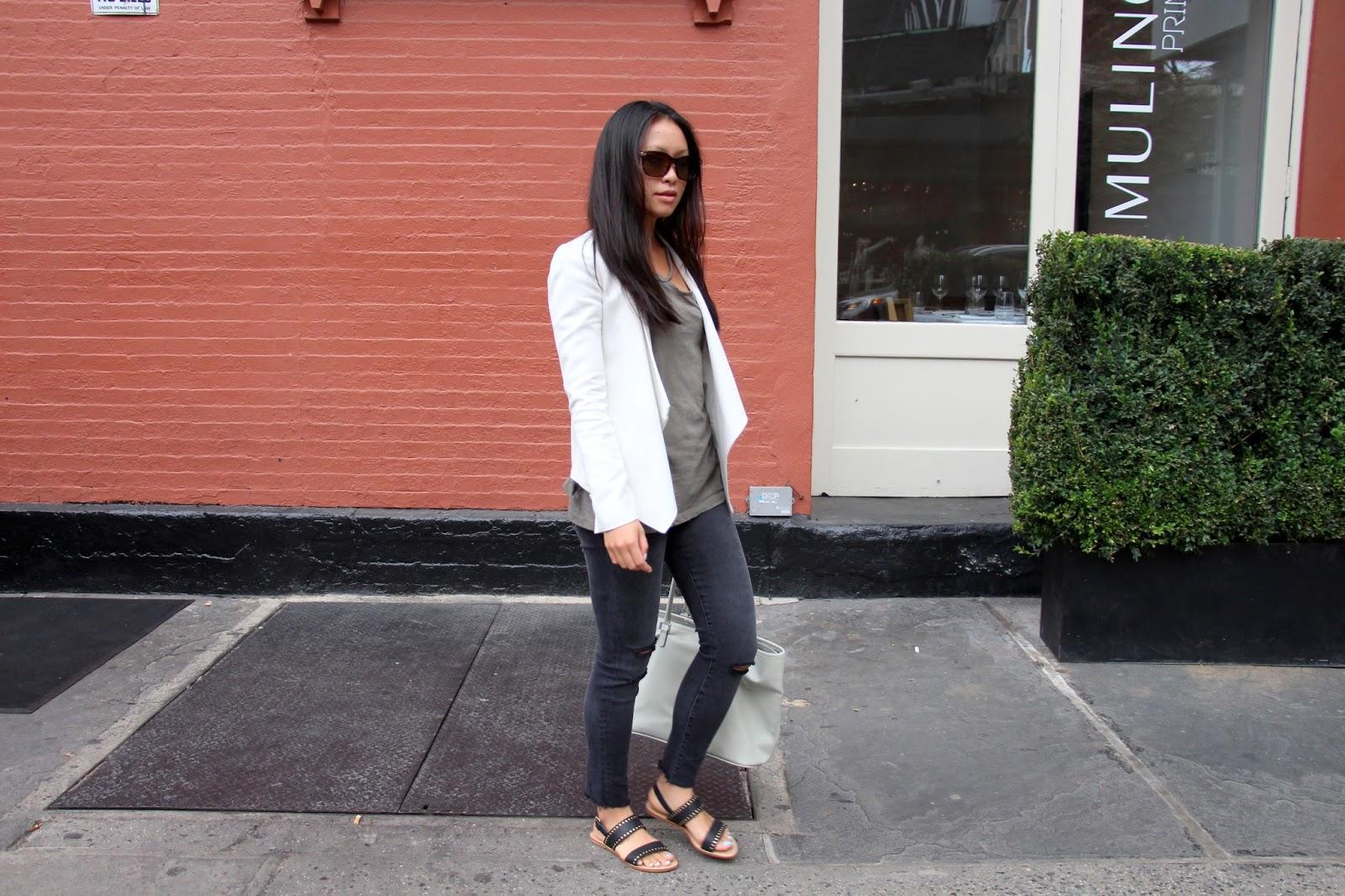 BCBG white blazer LNA desert crew tee J Brand mercy jeans Raye stella sandals