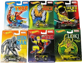 Set of Hot Wheels Pop Culture Marvel Real Riders diecast cars