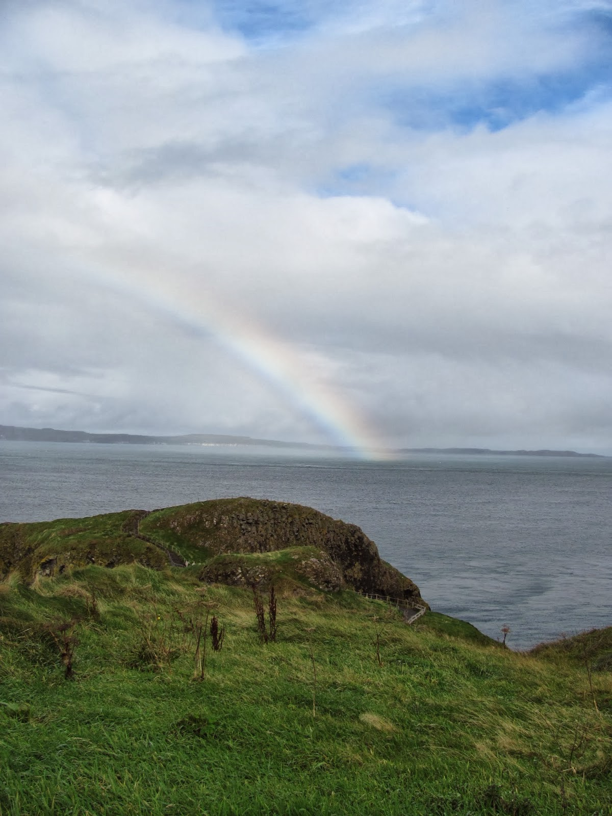 A rainbow at Carrick-a-Rede Rope Bridge, Northern Ireland