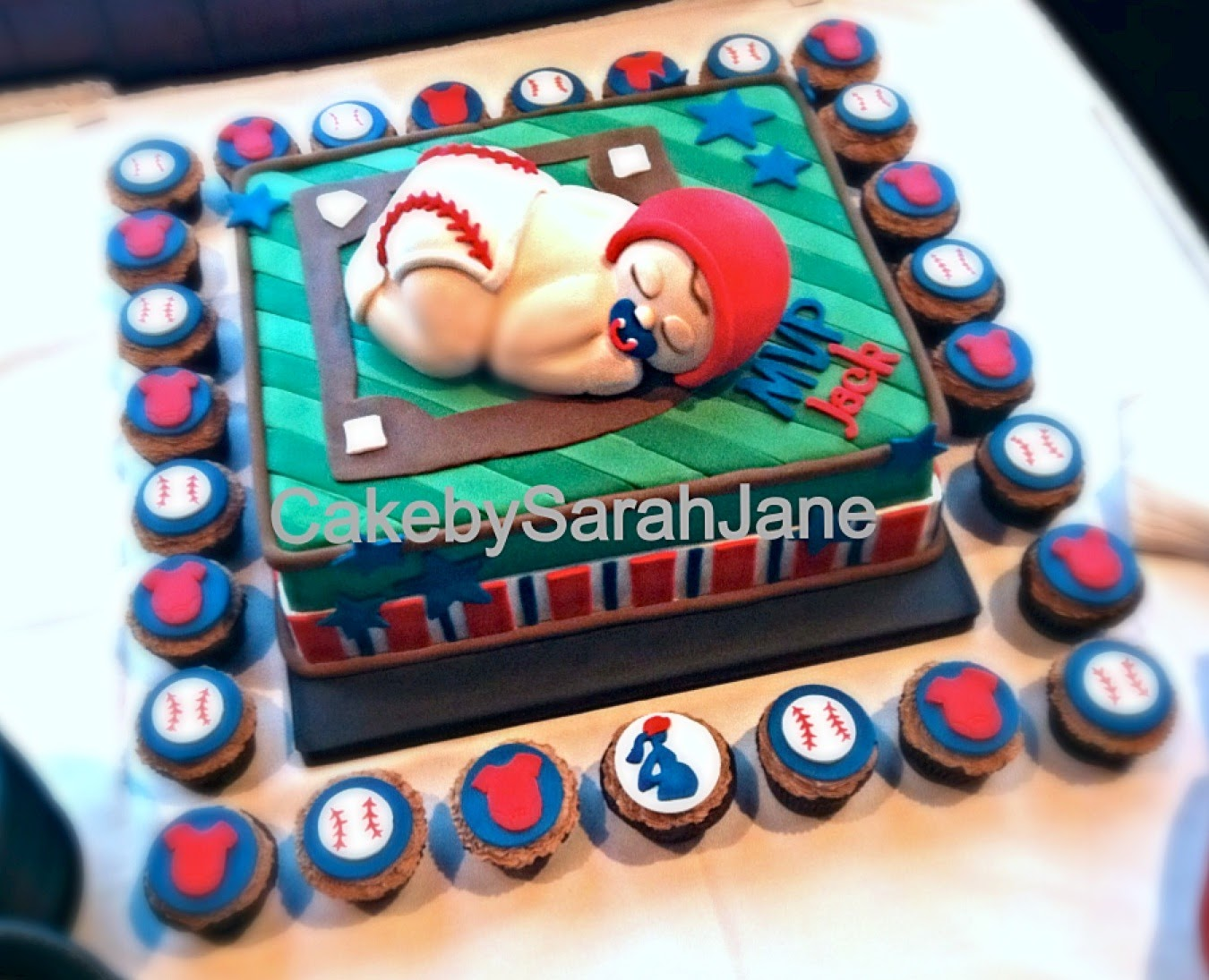 Baseball Baby Shower Cake (and Cupcakes!)