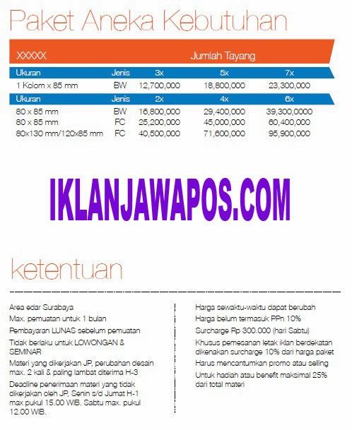Jawa Pos Iklan Paket Aneka Kebutuhan 2014