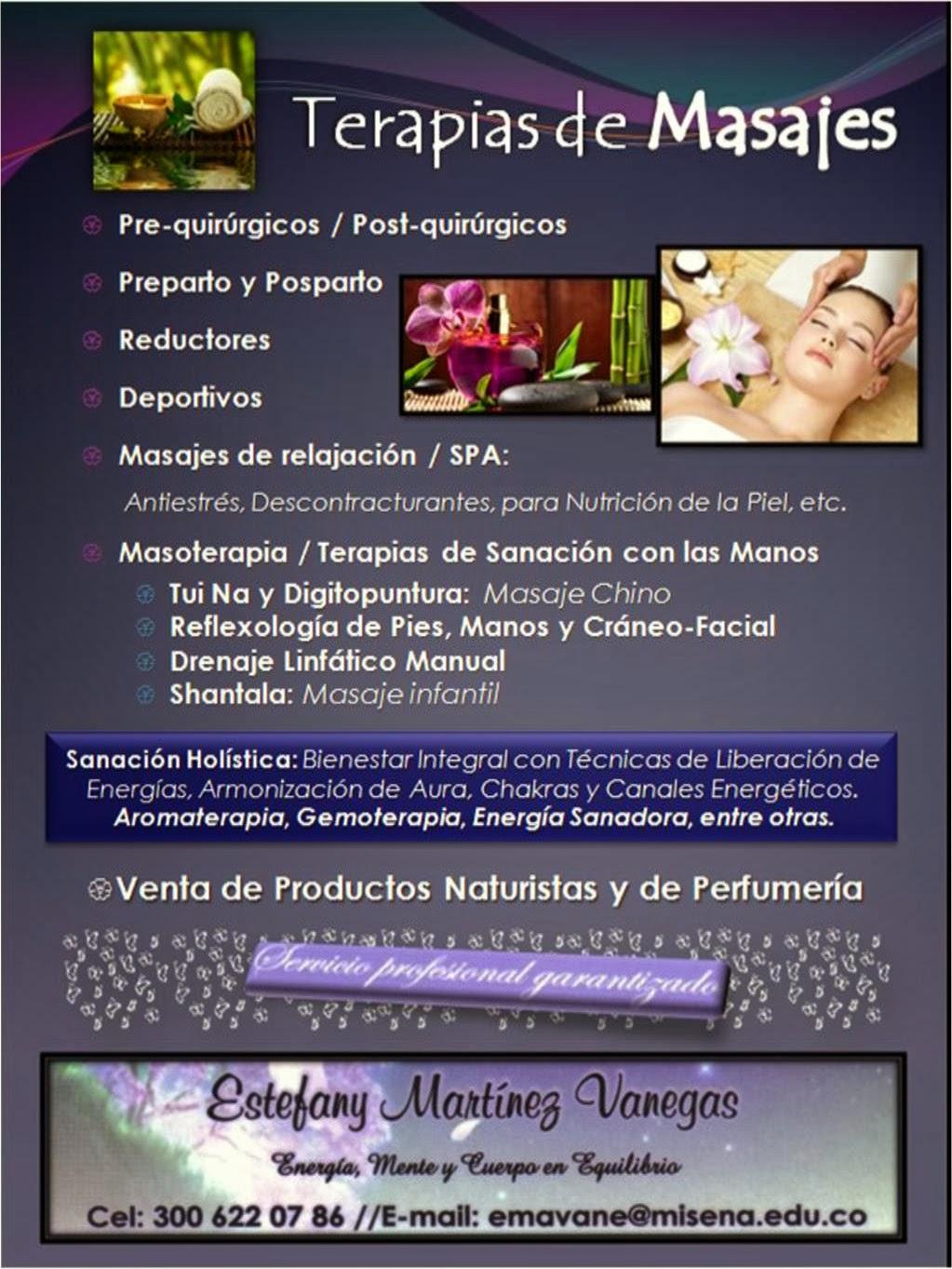Descripción de Servicios: Terapias de masajes en Medellín, Envigado y Area Metropolitana