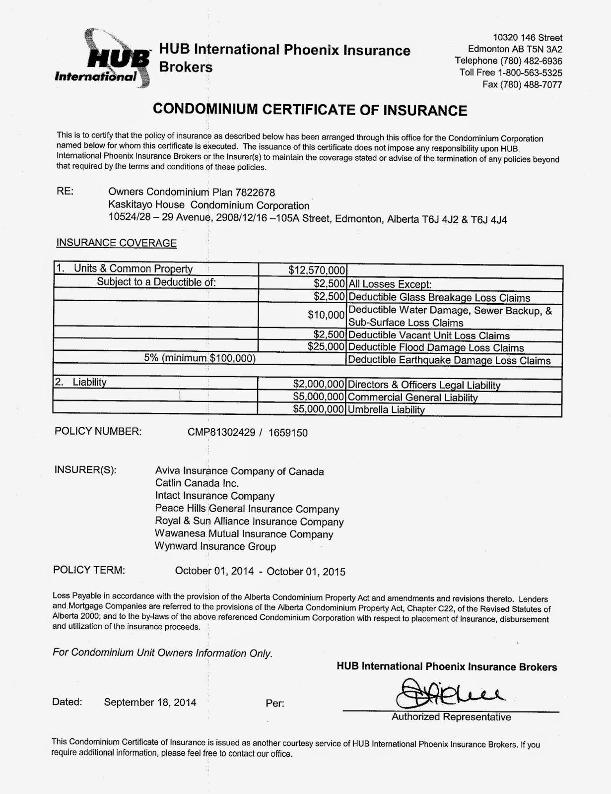 Kaskitayo House Insurance Certificate