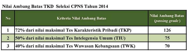 Update Passing Grade CPNS 2014 Naik 271