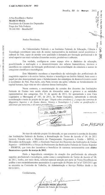 Carta do Ministro da Edução à Câmara dos Deputados em apoio às reinvindicações dos professores universitários
