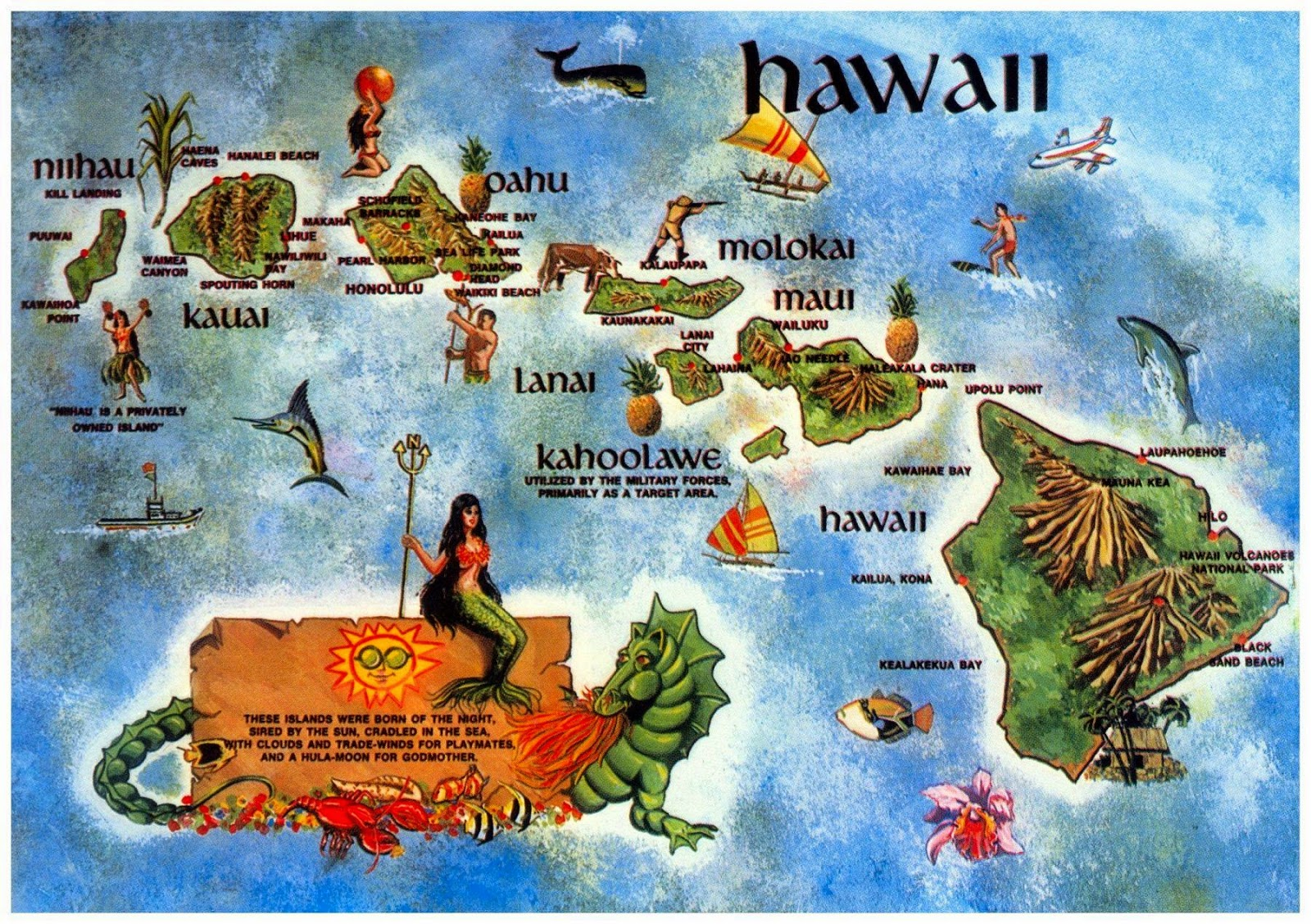 Online Maps Hawaii postcard maps