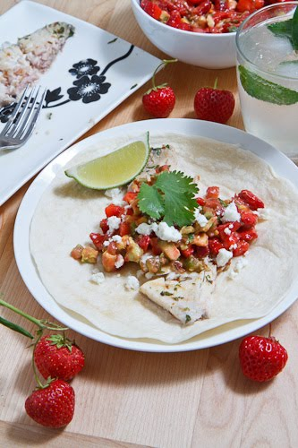 Mojito Grilled Fish Tacos with Strawberry Salsa on Closet Cooking
