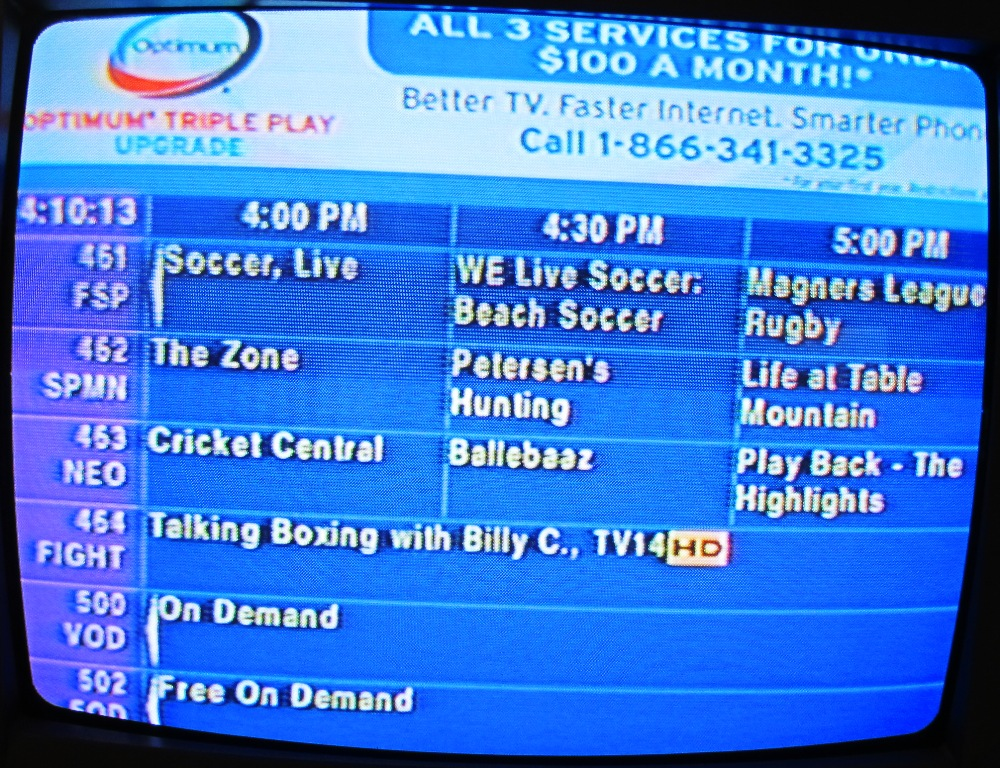 optimum cable tv schedule