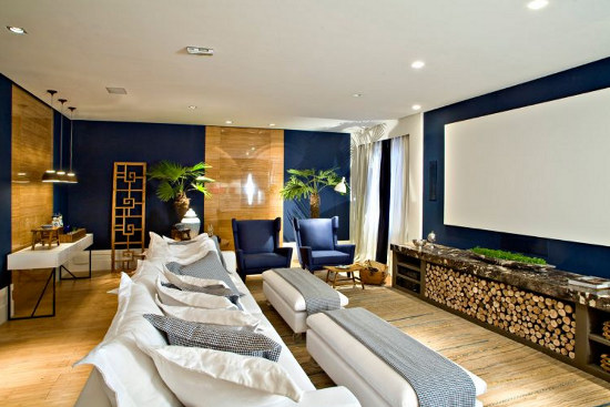 Sala Tv Com Home Theater ~ Sala+TV+Home+Theater+cinema+Azul+Madeira+Branco++SP+Arquitetos+e