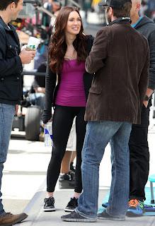 Megan Fox on the set of TMNT movie