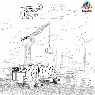 Kids free online coloring Thomas the tank engine and James the train Cranky crane Harold helicopter