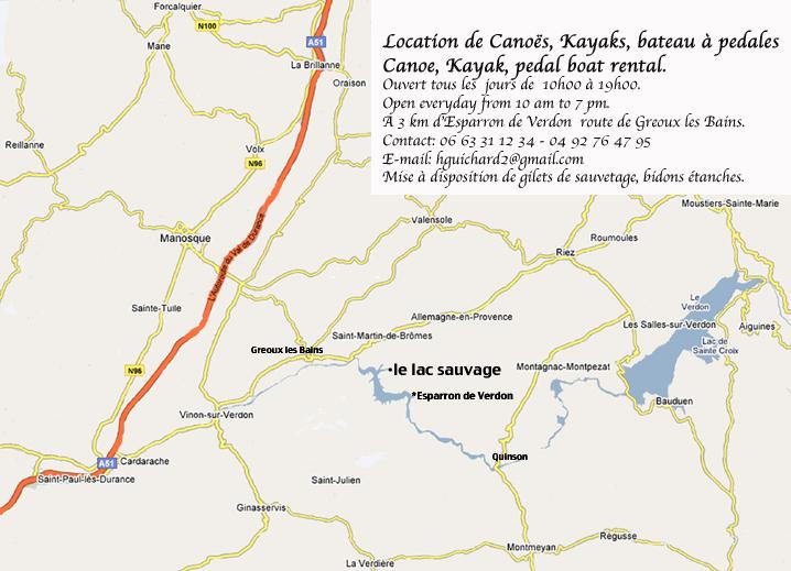 Le lac sauvage location canoes esparron - Location meuble greoux les bains ...
