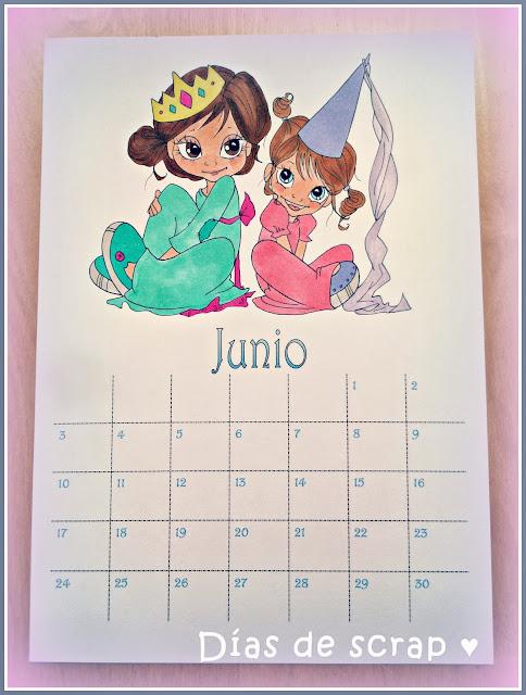 scrap calendario handmade junio