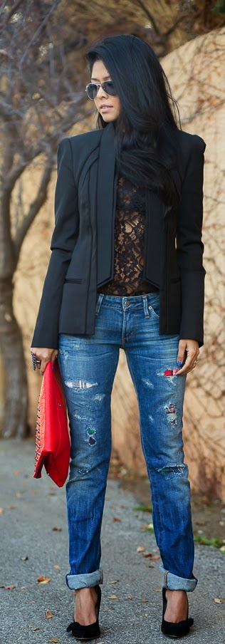 Classic Black Blazer with Sexy Lace Blouse and Ripped Jeans | Chic Street Outfits