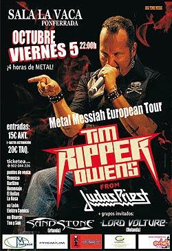Detalles de la gira de Tim Ripper Owens en Septiembre y Octubre