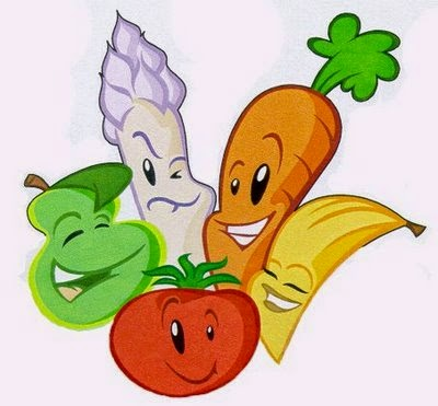 Gambar Makan Buah Pisang Tomat Apel Kartun Lucu