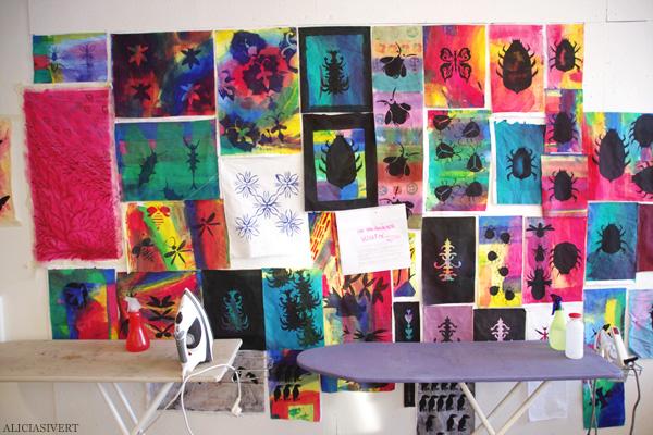 aliciasivert, alicia sivertsson, levande verkstad, pyssel, konst, handarbete, hantverk, skapa, textil, tygtryck, tryck, tyg, insekter, skalbaggar, bugs, textile, fabric, print