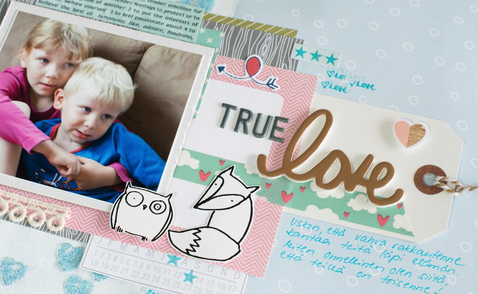 Scrapbooking layout with mixed media elements and lots of layers