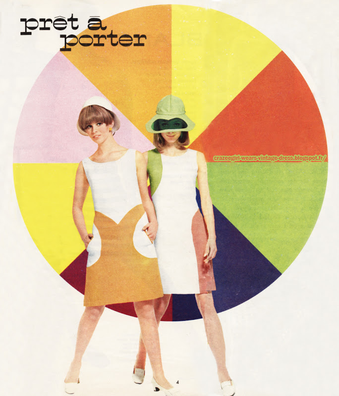 Dress and coat , color block, 1966 Lucien Leman monique dofny 60s 1960 mod colorblock