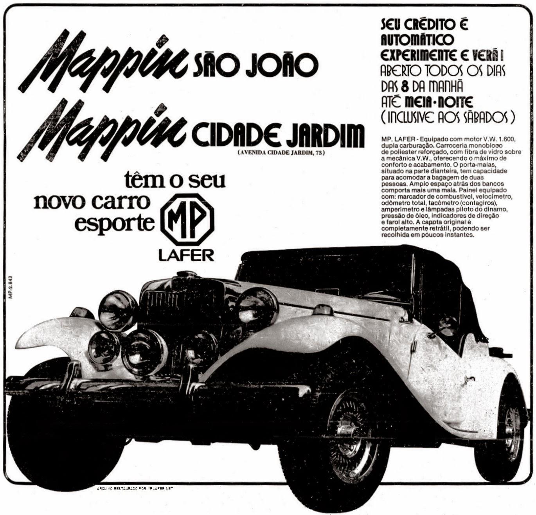 Um MP Lafer no anúncio do Mappin, publicado nos principais jornais de São Paulo em meados de 1976.