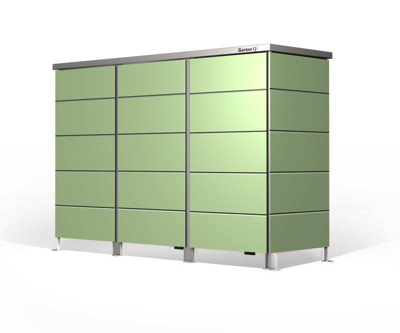 Moderne Müllbox für drei Mülltonnen